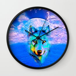 Wolf Moon and the Deep Blue Sea Wall Clock