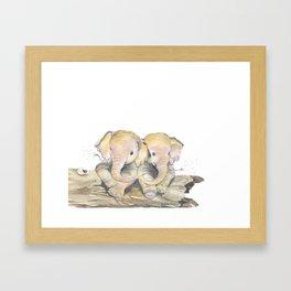 Happy Little Elephants Framed Art Print