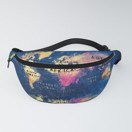 world map oceans and continents 2 Fanny Pack