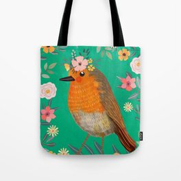 Robin Bird with flowers Tote Bag