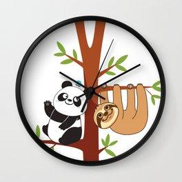 Cute Sloth & Panda Wall Clock