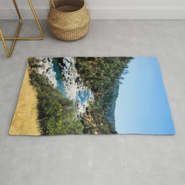 Rustic Mountain Vibes | South Yuba River California Forest Wilderness Hikers Landscape Photograph Rug