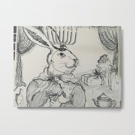 Hannukah Rabbit Metal Print