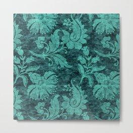 Burgundy Turquoise Velvet Floral Pattern 09 Metal Print