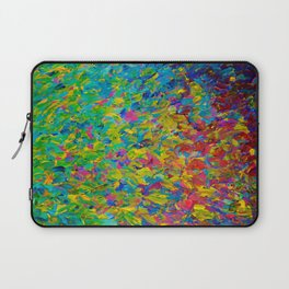 RAINBOW FIELDS - Colorful Abstract Acrylic Painting Ocean Waves Blue Teal Magenta Nature Fine Art Laptop Sleeve