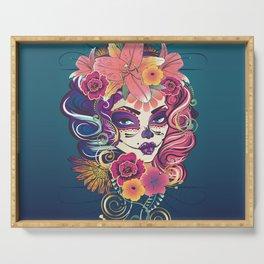 Sugar skull woman in flower crown portrait Serving Tray