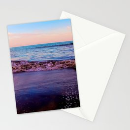 beach sunset with beautiful blue cloudy sky and blue wave in summer Stationery Cards