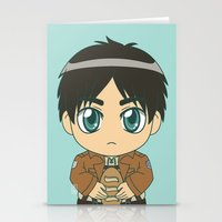 shingeki no kyojin Stationery Cards featuring Shingeki no Kyojin - Chibi Eren Flats by Tenki Incorporated