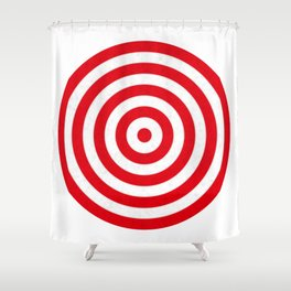 Red target on white background Shower Curtain