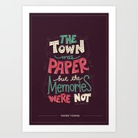 paper towns Art Prints featuring Paper Towns: Town and Memories by Risa Rodil