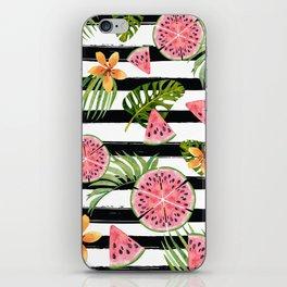 Watermelon black stripes iPhone Skin