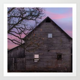 Vintage Barn and Barren Tree - Square Art Art Print