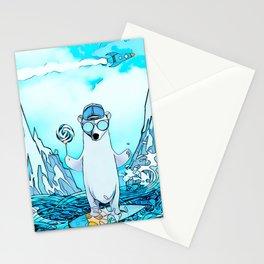 Polar bear on the surf board Stationery Cards