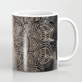 Mandala - rose gold and black marble 4 Coffee Mug