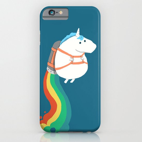 Fat Unicorn on Rainbow Jetpack iPhone & iPod Case