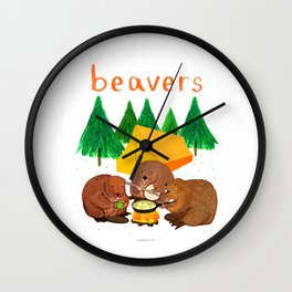 Beavers Illustration Wall Clock