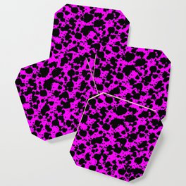 Black and Pink Leopard Style Paint Splash Funny Pattern Coaster