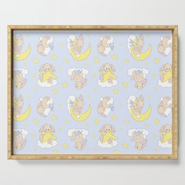 Bunny Moon Star Clouds Nursery Neutral Serving Tray