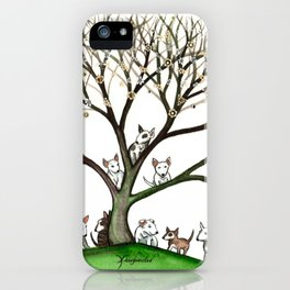 Bull Terriers Whimsical Dogs in Tree iPhone Case