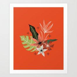 tropical bouquet on orange Art Print