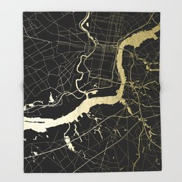 Philadelphia - Black and Gold Throw Blanket