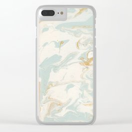 Marble - Cream & Blue Clear iPhone Case