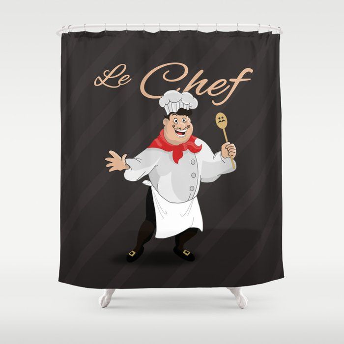 Le Chef Kitchen Decor French With A Mustache Cartoon Character Ilration Shower Curtain