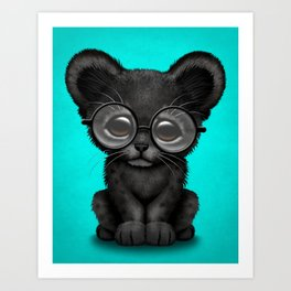 Cute Baby Black Panther Cub Wearing Glasses on Blue Art Print