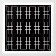 White outline rectangles on black Art Print
