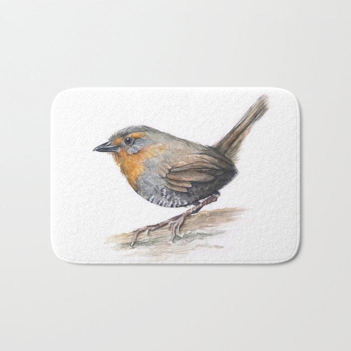 Chucao Bird Watercolor Animal Portrait Bath Mat