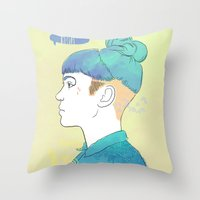 grimes Throw Pillows featuring Grimes by ObsidianInk