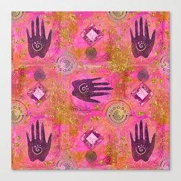 Hands ethnic symbol painting Canvas Print