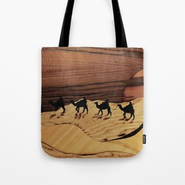 Desert or Sahara of wood marquetry art landscape picture Tote Bag