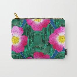 Contemporary GREEN GEMS MODERN PINK ROSE ART DESIGN Carry-All Pouch