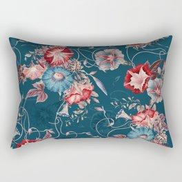 Moody Blue Floral Japanese Morning Glories Rectangular Pillow