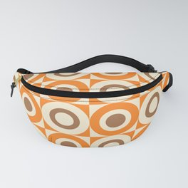 Mid Century Square and Circle Pattern 541 Orange and Brown Fanny Pack