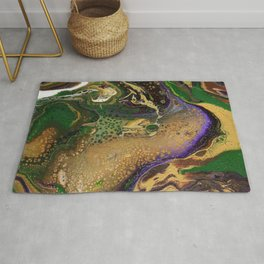 Fluid Gold XII - Abstract, textured, fluid, acrylic painting Rug