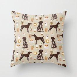 German Shorthair Pointer dog breed custom pet portrait coffee lover pet friendly gifts Throw Pillow