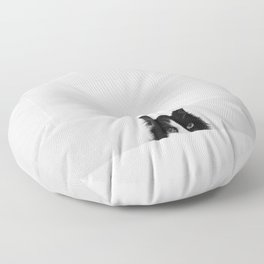 Water Please - Black and White Cat in Bathtub Floor Pillow