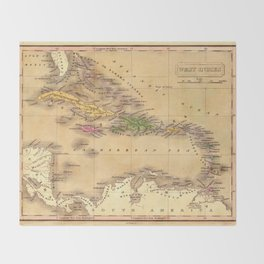Map Of The Caribbean 1828 Throw Blanket