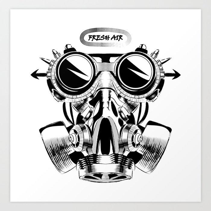 Steampunk vintage design vector drawing. gas mask punk ...