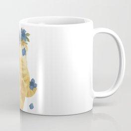 Flower Cat - Yellow Striped With Blue Coffee Mug