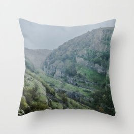 Cheddar Gorge in the Rain Throw Pillow