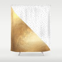 gold dots Shower Curtains featuring Gold and Polka Dots by Jenna Davis Designs