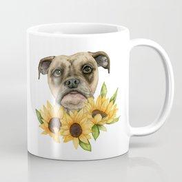 Cheerful | Bulldog Mix with Sunflowers Watercolor Painting Coffee Mug