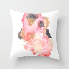 Watercolor Pink Black Flow | [dec-connect] 21. mesh Throw Pillow