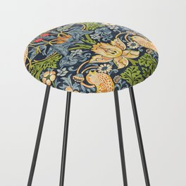 William Morris Strawberry Thief Restored Counter Stool