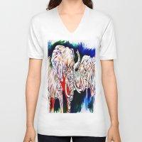 return V-neck T-shirts featuring TRIUMPHANT RETURN by PERRY DAEZIOUH
