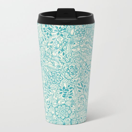 Detailed Floral Pattern in Teal and Cream Metal Travel Mug
