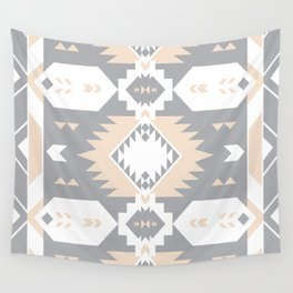Southwestern Navajo Tribal, Gray, White, and Nude Blush Wall Tapestry